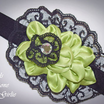 Baby headband , black and green headband , black lace headband baby , fancy headband , satin headband , green satin , toddler fancy headband