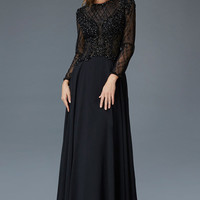 G2097 Black Long Sleeve Lace Chiffon MOB Modest Prom Dress or Evening Gown