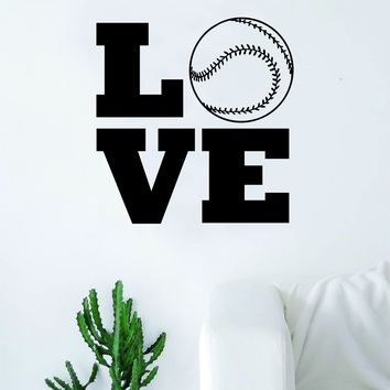 Love Baseball Wall Decal Sticker Bedroom Living Room Art Vinyl Beautiful Inspirational Sports Girls Boys Teen Softball