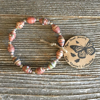 Paper Bead Bracelet, Rust Brown/Tan/Green Beaded Bracelet, Paper Bead Jewelry, Stretchy Bracelet, Gift for Women,Stocking Stuffer -Item# 057