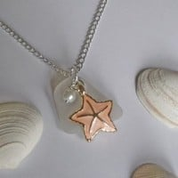 Sea Glass Necklace with Peach Enamel Starfish