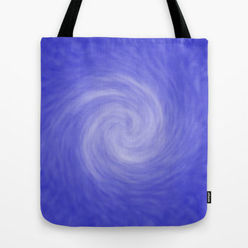 Soft Blue Radial Abstract Tote Bag by Tigerlynx