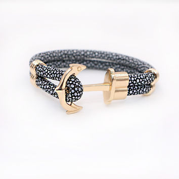 2017 New Fashion Anchor Bracelets Stingray Leather Bracelet  for Women Man Best Friends Gift  pulseira