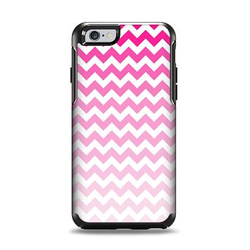 The Pink & White Ombre Chevron Pattern Apple iPhone 6 Otterbox Symmetry Case Skin Set