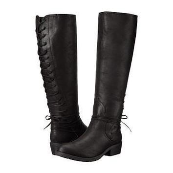 Tay Flat Tall Boot: With Lace Up Back: Black