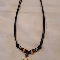 Tooth of Shark Necklace w/ Brown Bead Necklace