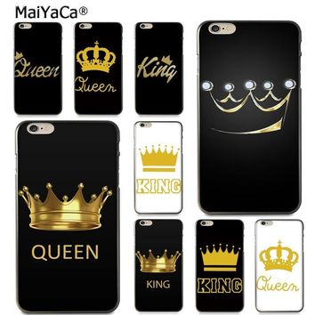 Cool MaiYaCa King Queen Couple Protective soft tpu Mobile Phone Case for Apple iPhone 8 7 6 6S Plus X 5 5S SE 5C case CoverAT_93_12