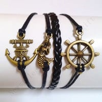 Anchor bracelet little mermaid bracelet rudder bracelet pirate anchor bracelet gift for best friend boyfriend birthday