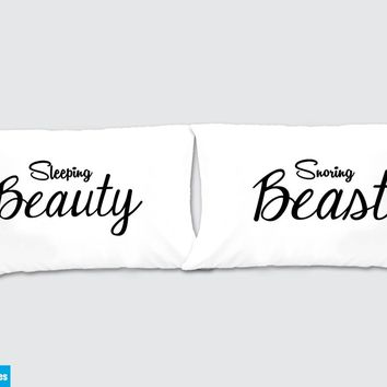 Sleeping Beauty - Snoring Beast Matching Pillow Cases - Awesome Gift for cute couples - Price is for 2 Pillow cases