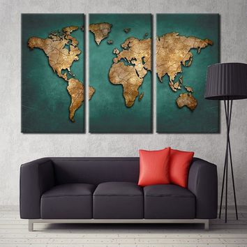 Unframed World Map Canvas Wall Painting Home Decor Vintage Large Canvas Print World Map Art Pictures for Office Living Meeting R