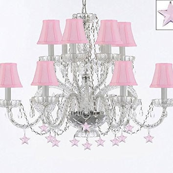 Murano Venetian Style All Empress Crystal (Tm) Chandelier! With Stars And Shades! - A46-B38/Sc/Pinkshades/385/6+6