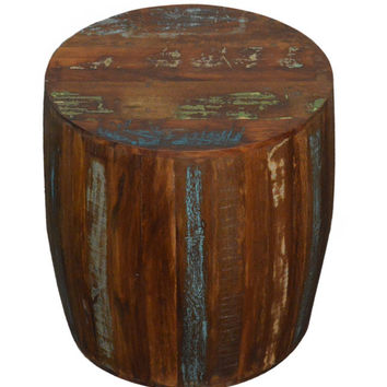 Reclaimed Wood Rustic Drum Barrel Style Side Table Stool