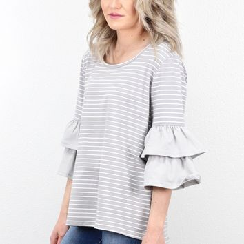 Striped Layered Ruffle Sleeve Top {Cool Grey Mix}