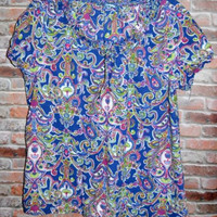IZOD Womens Summer Top Sz Large Cotton Blouse Blue