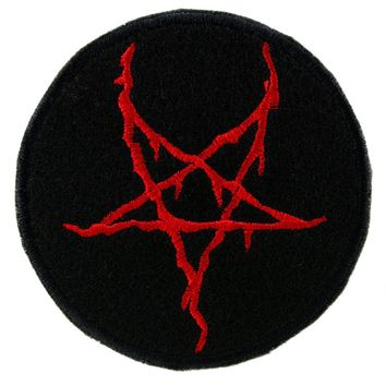 Red Thorn Jagged Inverted Pentagram Patch Iron on Applique Alternative Clothing