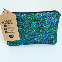 Peacock blue and green sparkly party evening glitter clutch bag