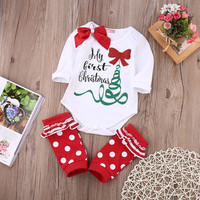 2016 New Baby Girls Cotton Bodysuit Long Sleeve Jumpsuit Outfits Cute Christmas Clothing Baby Girl