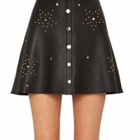Starboy Button Down Leather Skater Skirt