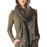 Q2 Green Printed Scarf In Fine Knit