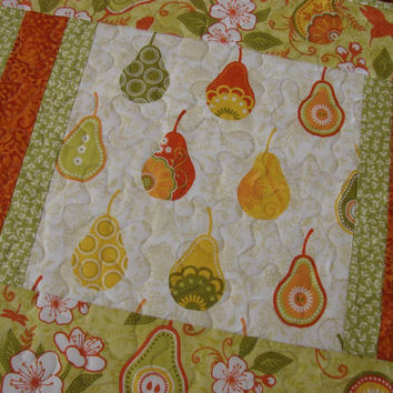 Modern Quilted Table Runner with Pears in Green Orange and Yellow Citrus Colors