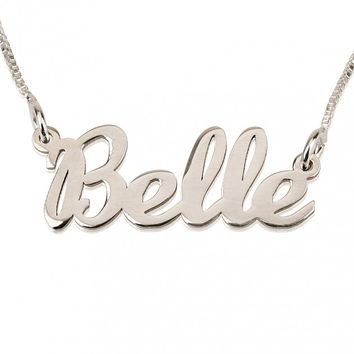 Sterling Silver Name Necklace Hand Style Lettering