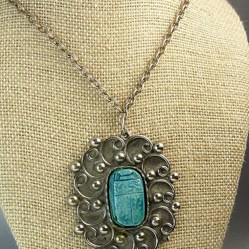 Vintage Egyptian Revival Turquoise Scarab Pendant Necklace