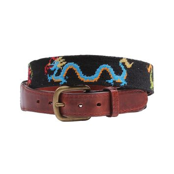 Dragons Needlepoint Belt in Black by Smathers & Branson