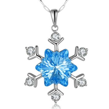 Gifts Snowflake Necklace PLATO H Snow Flower Pendant Necklace With Swarovski Crystals, Bridesmaid Necklace Party Prom Jewelry, Birthday Christmas Gift
