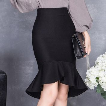 CREYET7 2016 spring and summer high waist slim hip skirt female bust skirt ruffle slim midguts fish tail skirt step skirt