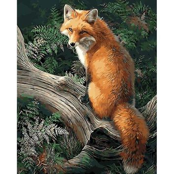 Frameless Picture Animals Fox DIY Painting By Numbers Kits Acrylic Paint By Numbers Home Wall Art Decor For Unique Gift 40x50cm