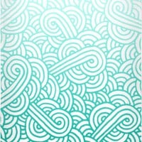 Gradient turquoise blue and white swirls doodles Beach Towel