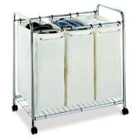 Organize It All 3 Section Mobile Laundry Sorter