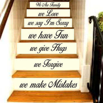 Family Rules - In This House Quote Version 2 Staircase Wall Vinyl Decal Sticker