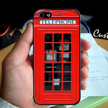 Tardis Red London Phone Box - Photo Hard Case design for iPhone 4/4s Case, iPhone 5 Case, Black or White ( Choose Option )