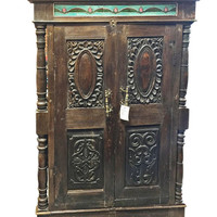 Antique Indian Teak Window Terrace India Furniture Rare Rustic Antique Jharokha with  Tiles