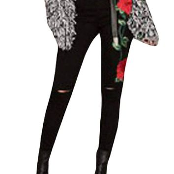 Women's Double Rose Embroidery Distressed Black Skinny Jeans