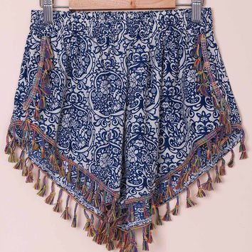 Blue Ethnic Print Shorts with Fringe