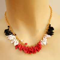 Calla lily - Minimal necklace - Red black white - Handmade flower necklace