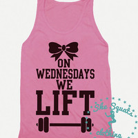 On Wednesdays We Lift, mean girls. Gym Tank, Running Tank, Gym Shirt, Running Shirt, Workout Shirt, crossfit tank, workout clothes, top