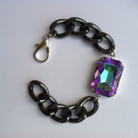 Enchanted - Gunmetal Chain with Swarovski Vitrial Light Crystal