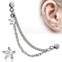 Silver CZ Star Cartilage Earring
