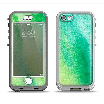 The Vibrant Green Watercolor Panel Apple iPhone 5-5s LifeProof Nuud Case Skin Set