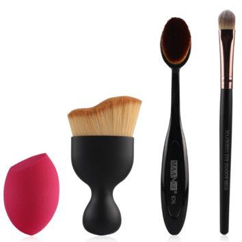 Women's 4 Pcs Black Makeup Brush Set With Blending Sponge