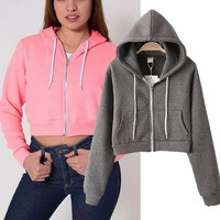 Fashion Long Sleeve Hooded Short Jacket Coat