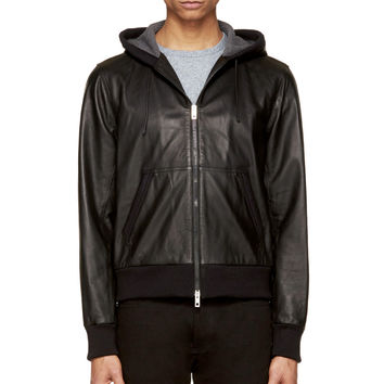 Rag And Bone Black Leather And Knit Crishtopher Hoodie