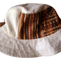 Urban Outfitters Aesthetic Anthnic Embroidered Hiking Bucket Hat M Reversible