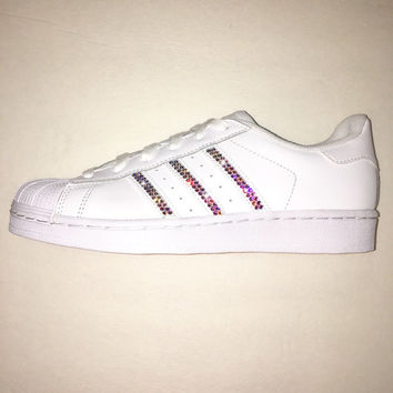 Bling Adidas with Swarovski Crystals   Women s Original Superstar Shoes  Bedazzled w  AB Swarovski Crystal bac5f9b71f