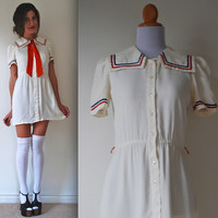 Vintage 70s Game Set Match Sailor Dress (size small, medium)