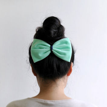 Ariel Bow - big bow hair clip, pastel green, neon orange-red