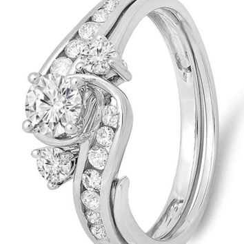 CERTIFIED 0.90 Carat 10K Gold Round Diamond Swirl Bridal Engagement Ring With Matching Band Set